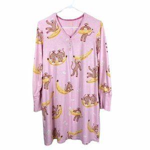 Nick & nora sock monkey banana women's size medium long sleeve nightgown